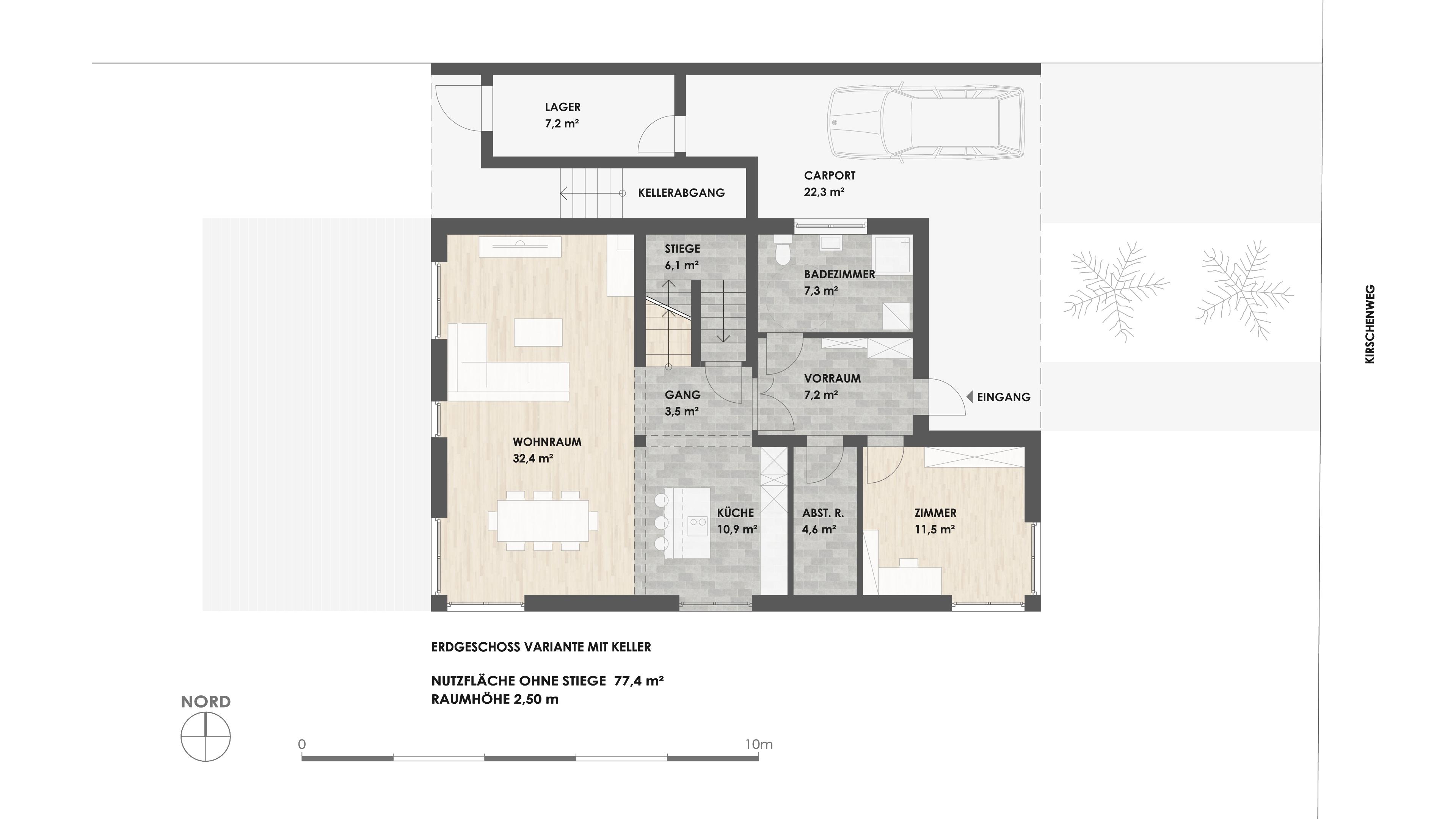 Grundriss EG mit Keller - zur Detailansicht
